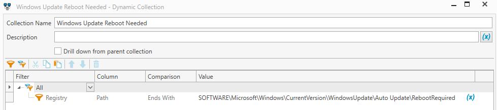 Windows Update Requires Reboot Collection