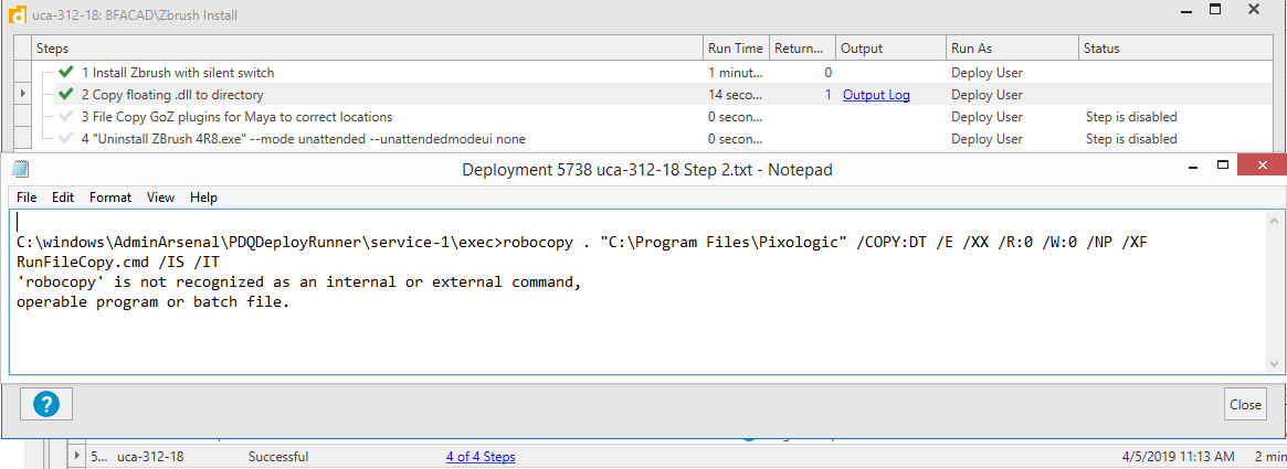 "A screenshot of the ""success"" status and the log file saying that it can't find robocopy"