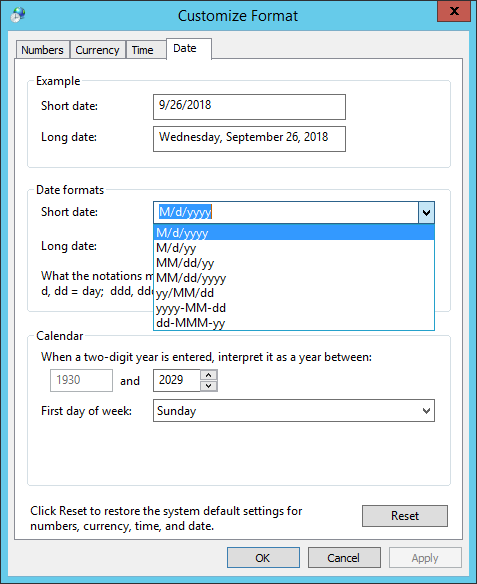 Date format screenshot